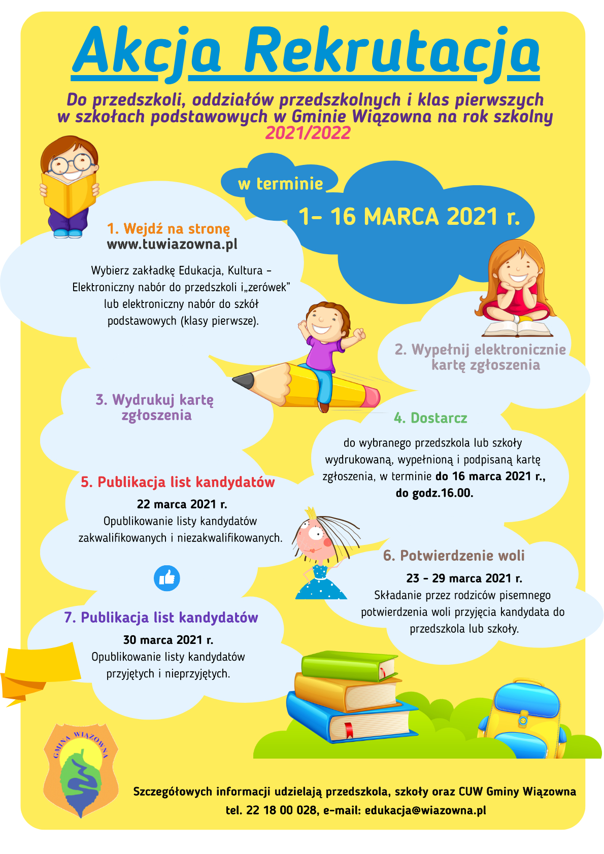 Plakat z informacją o rekrutacji do gminnych przedszkoli i szkół