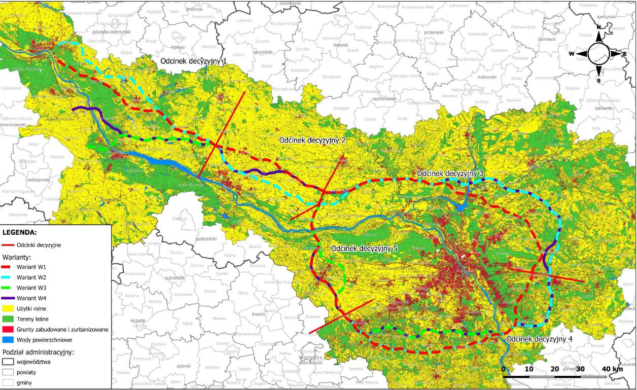 Mapa. Przebieg Wariantów drogi na tle typów użytkowania terenu