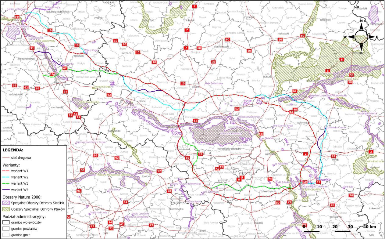 Mapa. Przebieg rozpatrywanych Wariantów inwestycjiw odniesieniu do obszarów Natura 2000
