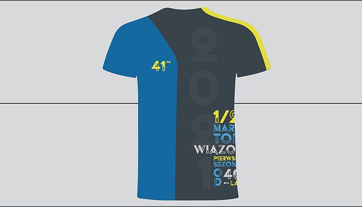 Niebiesko-czarno koszulka dla zawodników 41. Półmaraotnu Wiązowskiego