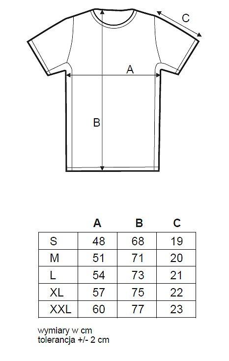 Rozmiarówka koszulki dla zawodników 41. Półmaratonu Wiązowskiego