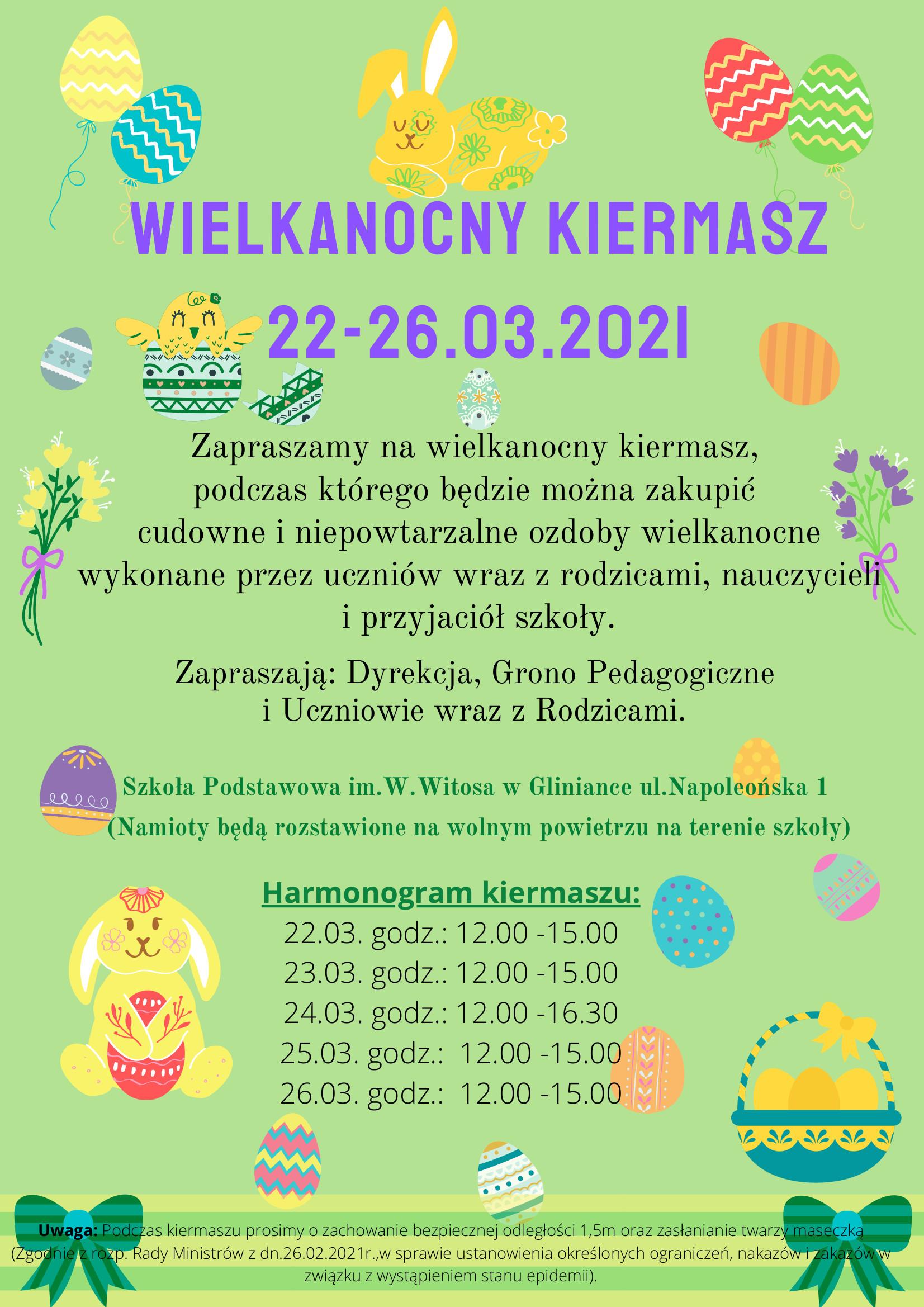 Plakat KIermaszu Wielkanocnego organizowanego przy szkole podstawowej w Gliniance w dniach 22 - 26 marca