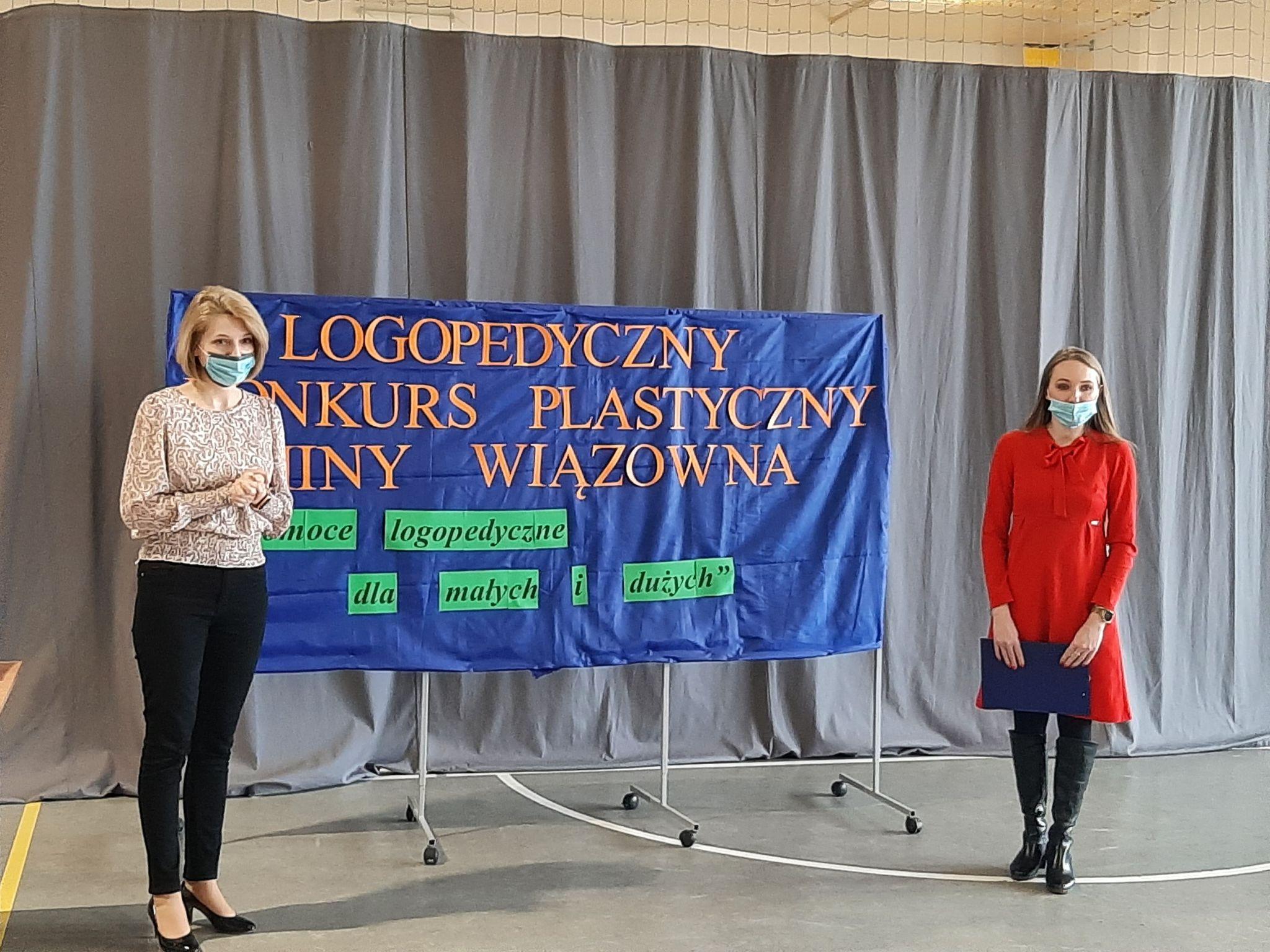 Tablica z napisem II Konkurs Logopedyczno-Plastyczny Gminy Wiązowna. Organizatorki konkursu