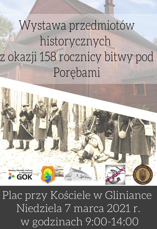 Plakat z informacją o wystawie przedmiotów z epoki powstania styczniowego 7 marca przed kościołem w Glininace