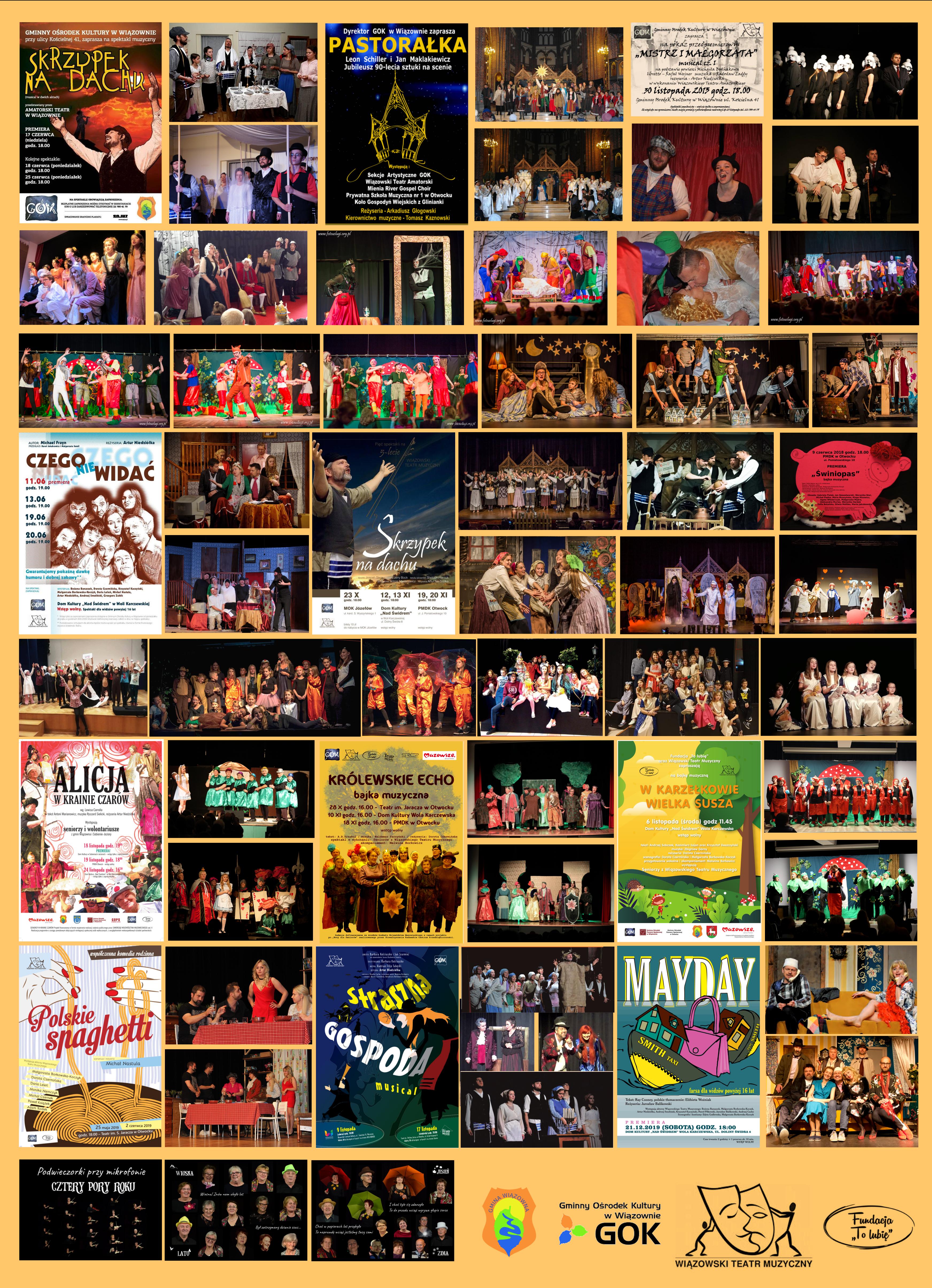 Plakat Wiązowskiego Teatru Muzycznego. Wiele małch zdjęć poukładanych jedno obok drugiego na pomarańczowymtle. Na dole herb Gminy Wiązowna i loga GOK i biblioteki publicznej
