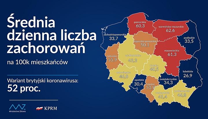 Mapa z średnią dzienną liczbą zachorowań na 100 tys. mieszkańców w poszczególnych województwach