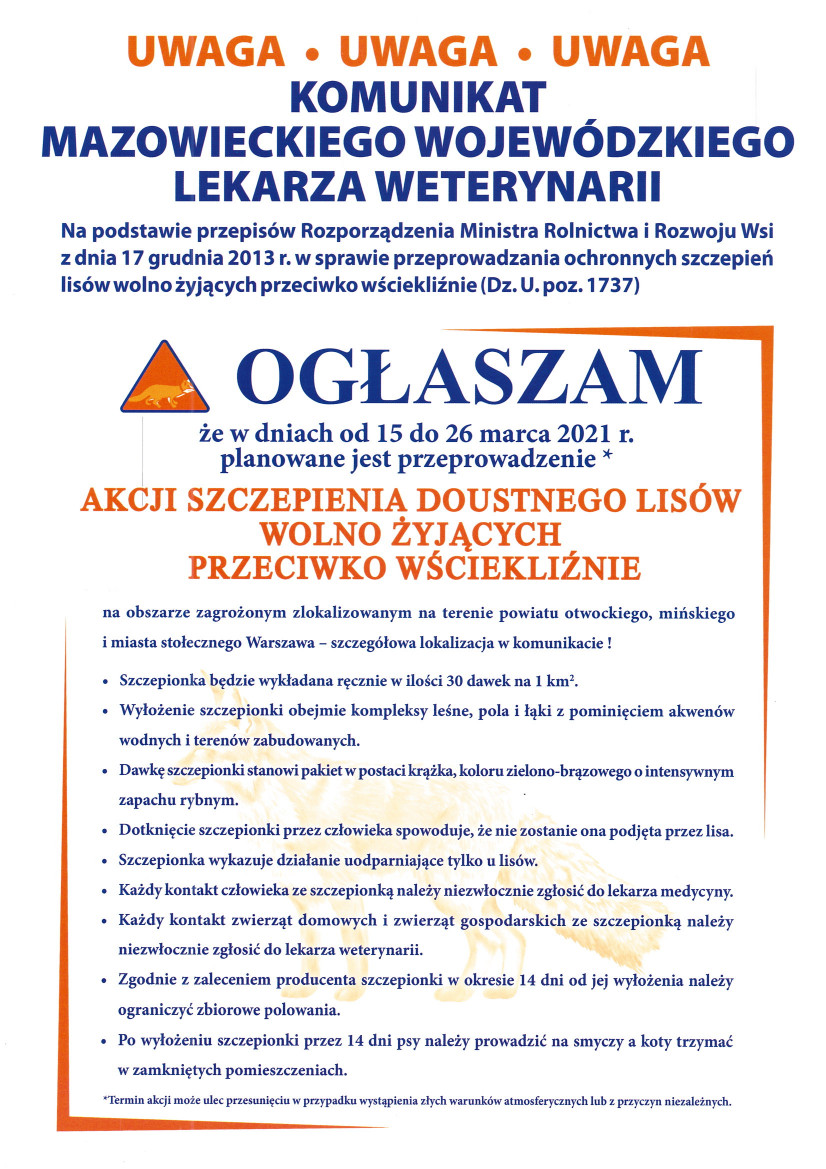 Ogłoszenie dotyczące szczepień przeciw wściekliźnie dla lisów na terenie powiatu otwockiego