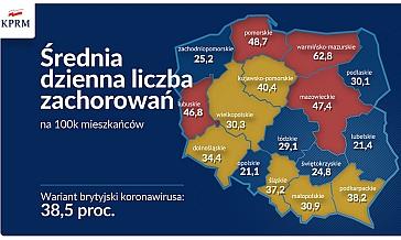 Mapa polski z danymi o średniej dziennej liczbie zachorowań w poszczególnych województwach