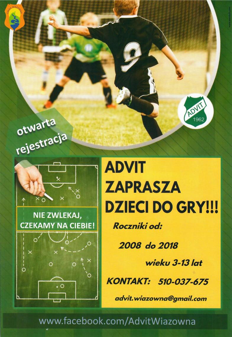 Plakat Advit Wiązowna z informacją o zapisach na zajęcia z piłki nożnej dla dzieci