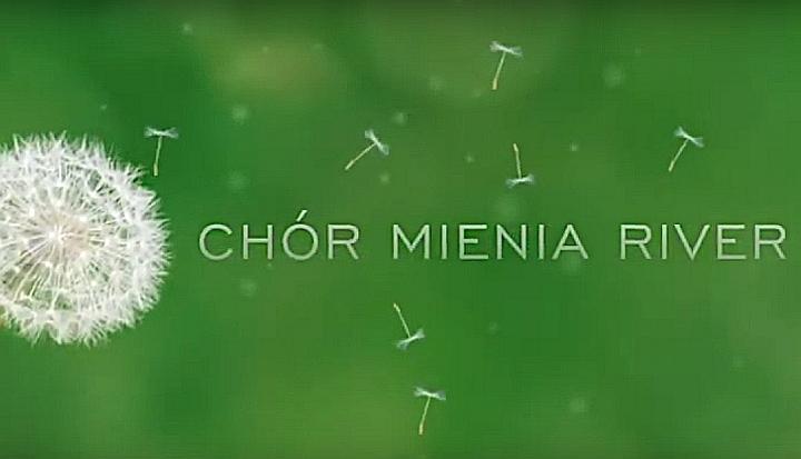 Zielone tło. Na nim biały dmuchawiec po elwej i napis po prawej Chór Mienia River