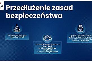 Na niebieskim tle tekst: Przedłużenie zasad bezpieczeństwa