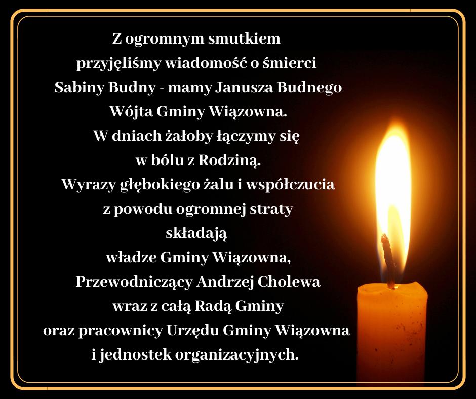 Kondolencje dla Wójta Janusza Budnego z powodu śmierci mamy