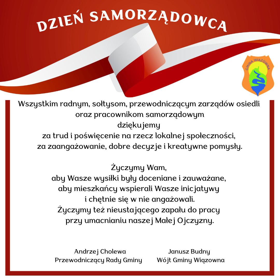 Życzenia na Dzień Samorządowca od wójta Janusza Budnego oraz przewodniczącego Andrzeja Cholewy