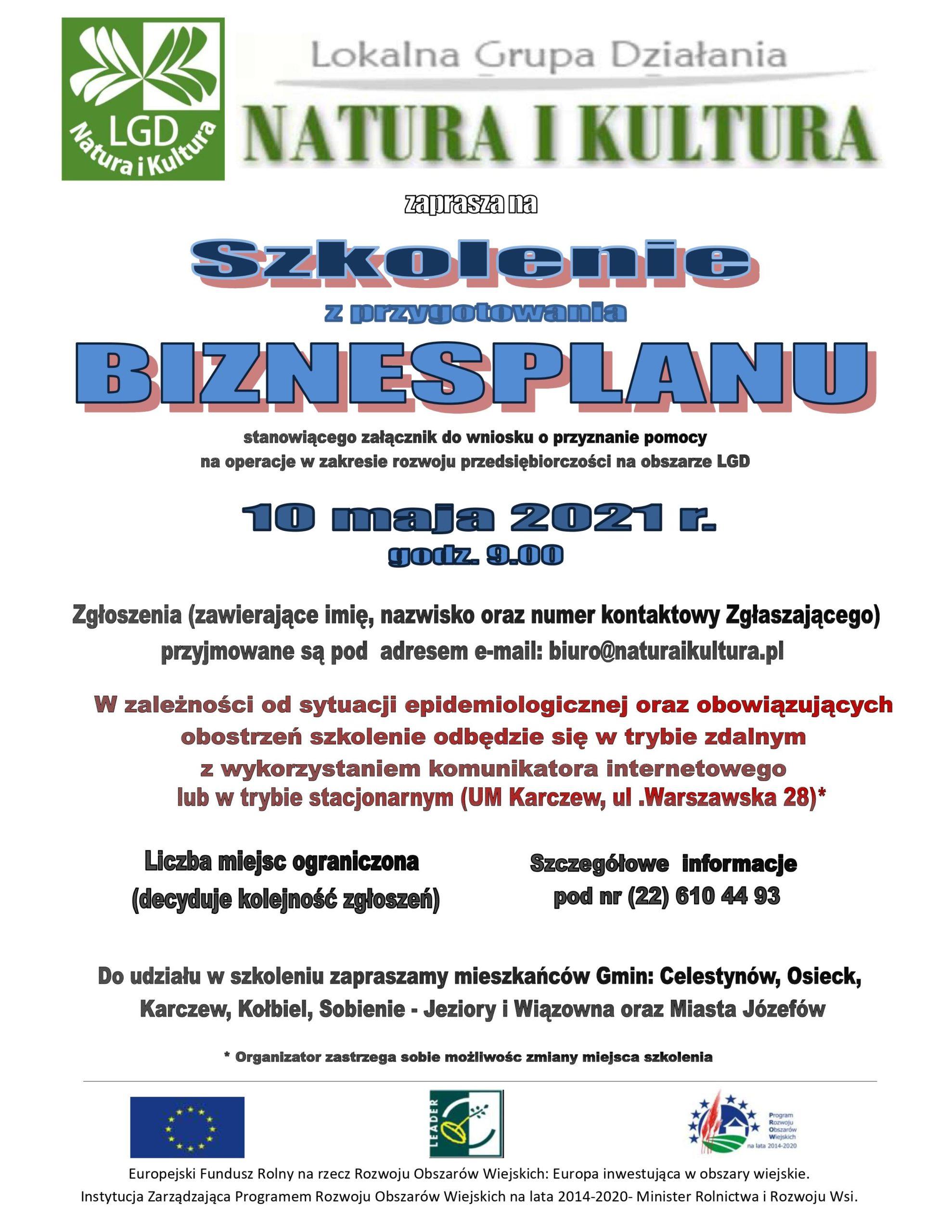 Plakat LGD Natura i Kultura informujący o darmowym szkoleniu z pisania biznesplanu 10 maja.