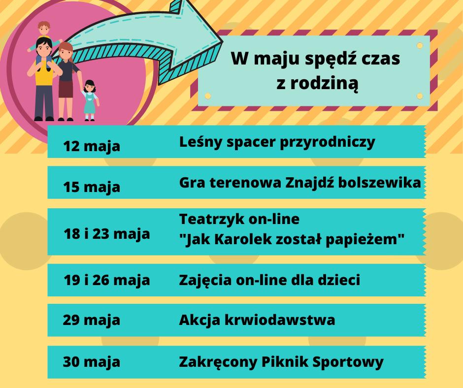 Plakat informujący o imprezach organizowanych w maju przez Gminny Ośrodek Kultury w Wiązownie.