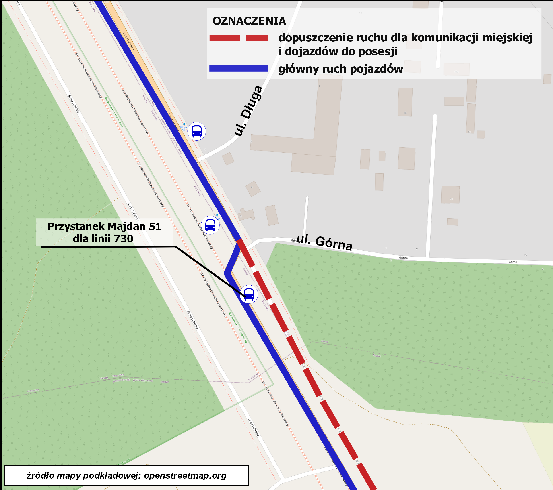 Mapa poglądowa pokazująca zmianę organizacji ruchu przy ul. Górnej w Majdanie