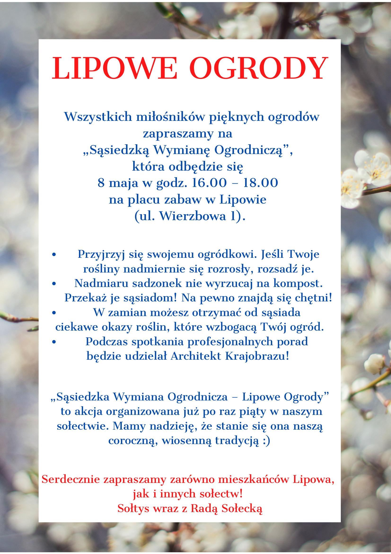 Lipowe Ogrody. Zaproszenie na wymianę roślin pomiędzy mieszkańcami w Lipowie 8 maja