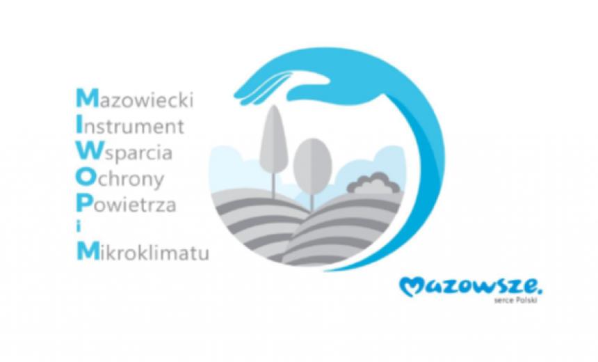 """Logo programu """"Mazowieckiego Instrumentu Wsparcia Ochrony Powietrza i Mikroklimatu MAZOWSZE 2021"""""""