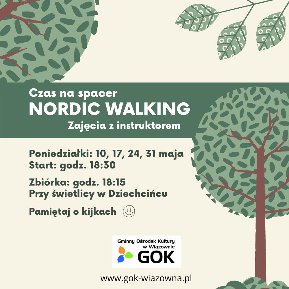 Czas na spacer nordic walking. Zajęcia z instruktorem. Poniżej infomracja o trenigach