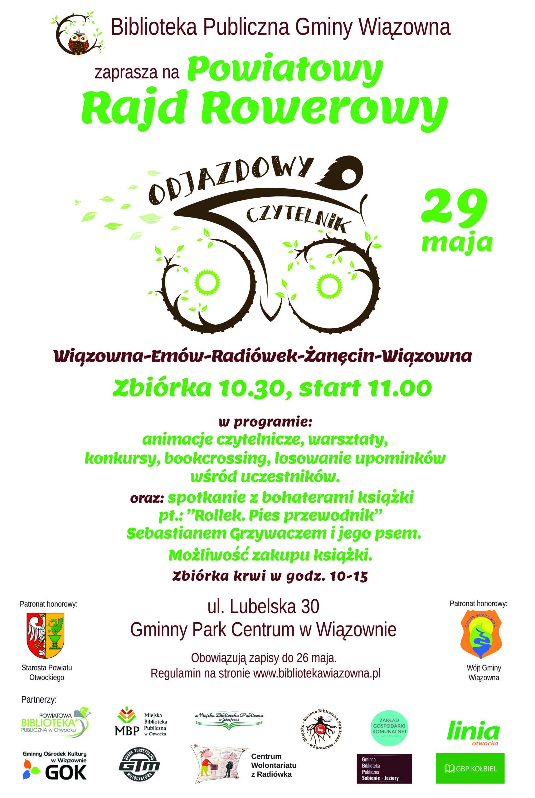 """""""Objazdowy Czytelnik"""" - impreza 29 maja organizowana przez Bibliotekę Publiczną Gminy Wiązowna"""