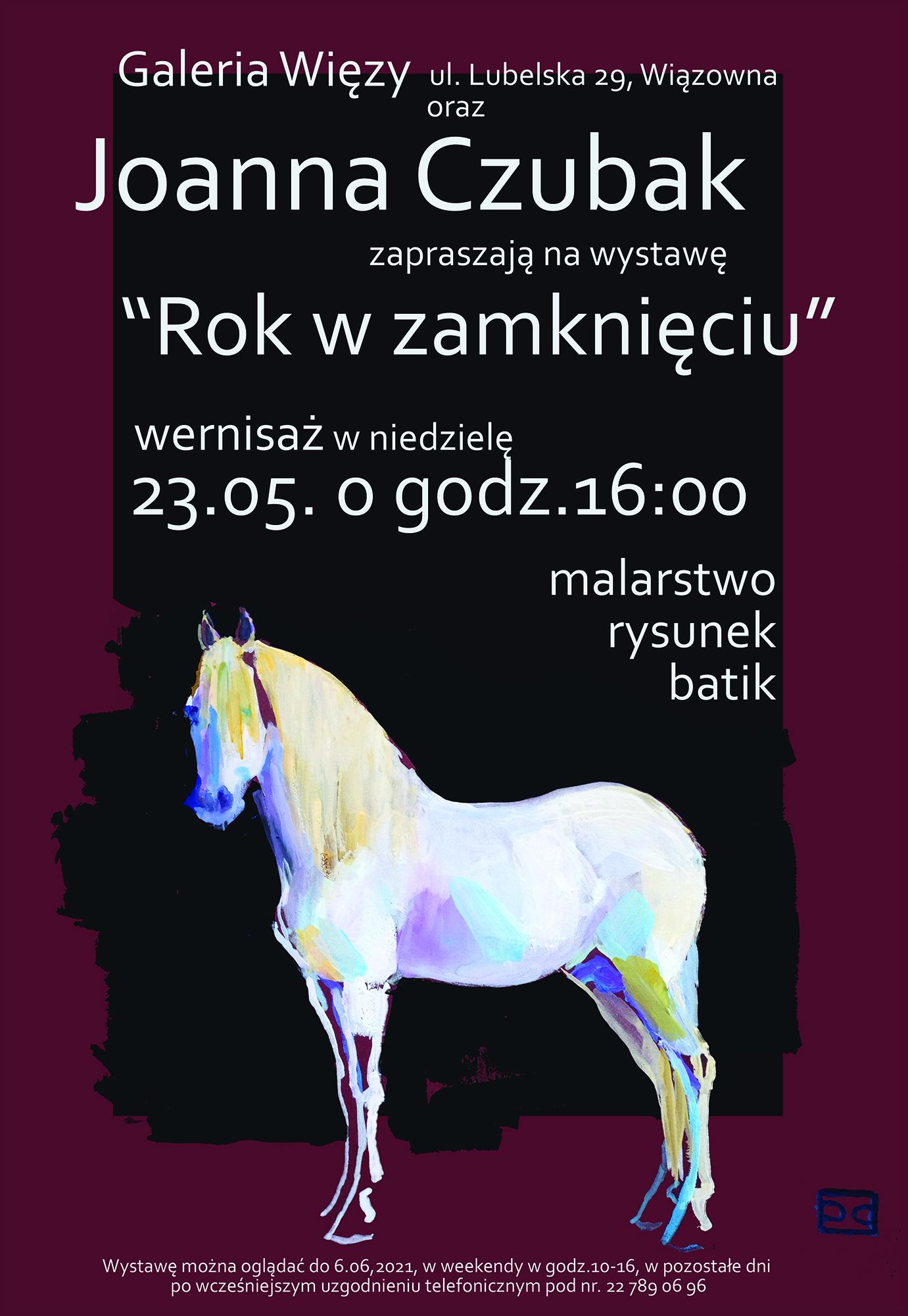 Plakat informujący o wystawie w Galerii Więzy w Wiązownie