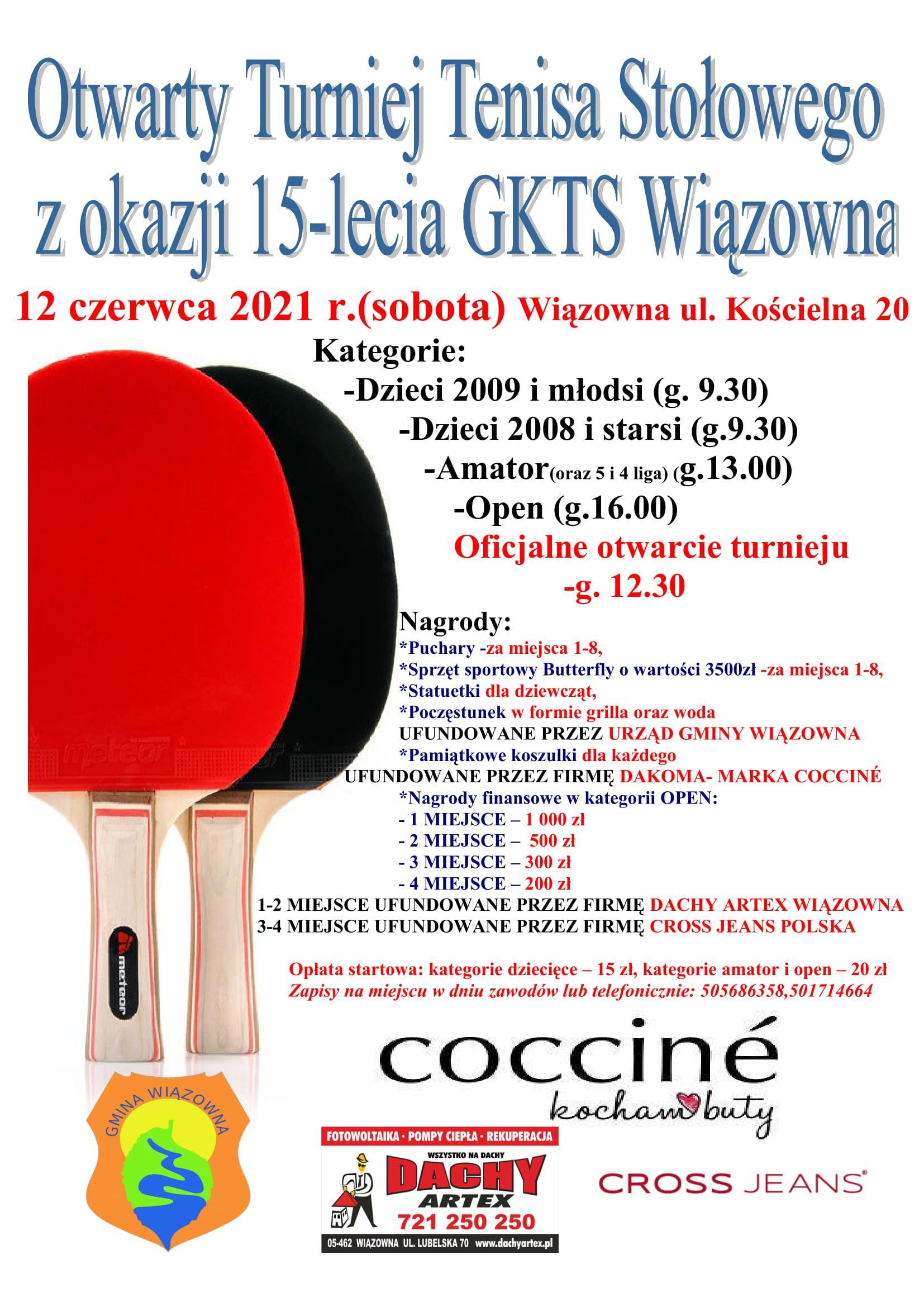 Plakat zapraszający na Otwarty Turniej Tenisa Stołowego 12 czerwca w Szkole Podstawowej w Wiązownie