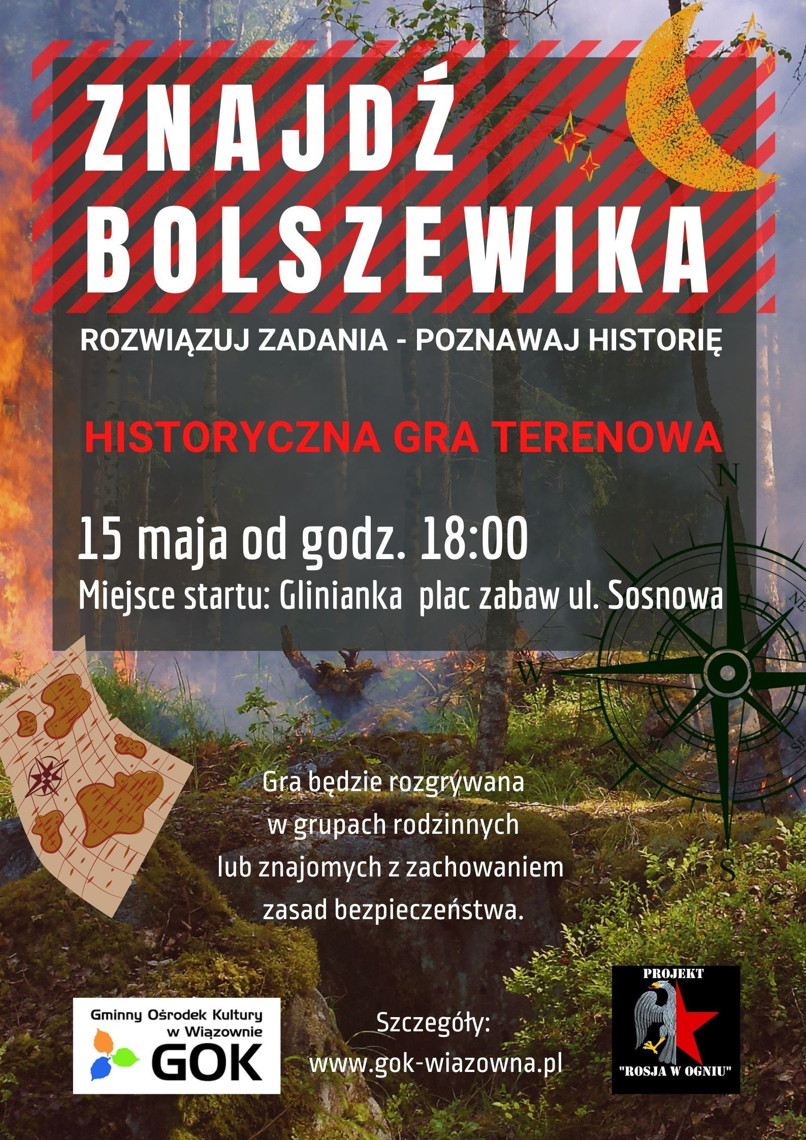 """Plakat historycznej gry terenowej """"Znajdź bolszewika"""", która odbędzie się 15 maja w Gliniance."""
