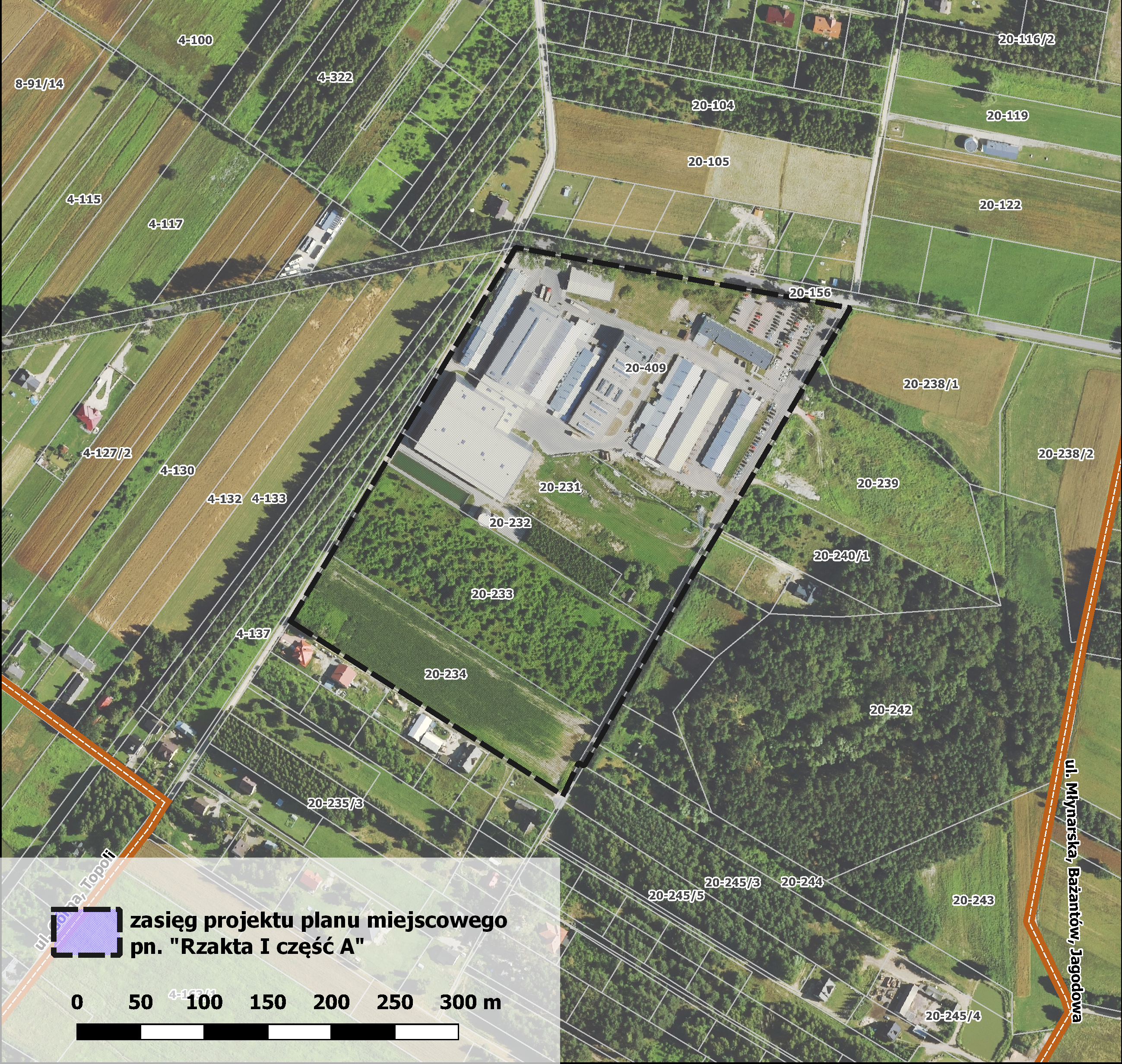 """Mapa projektu miejscowego planu zagospodarowania """"Rzakta I część A"""""""