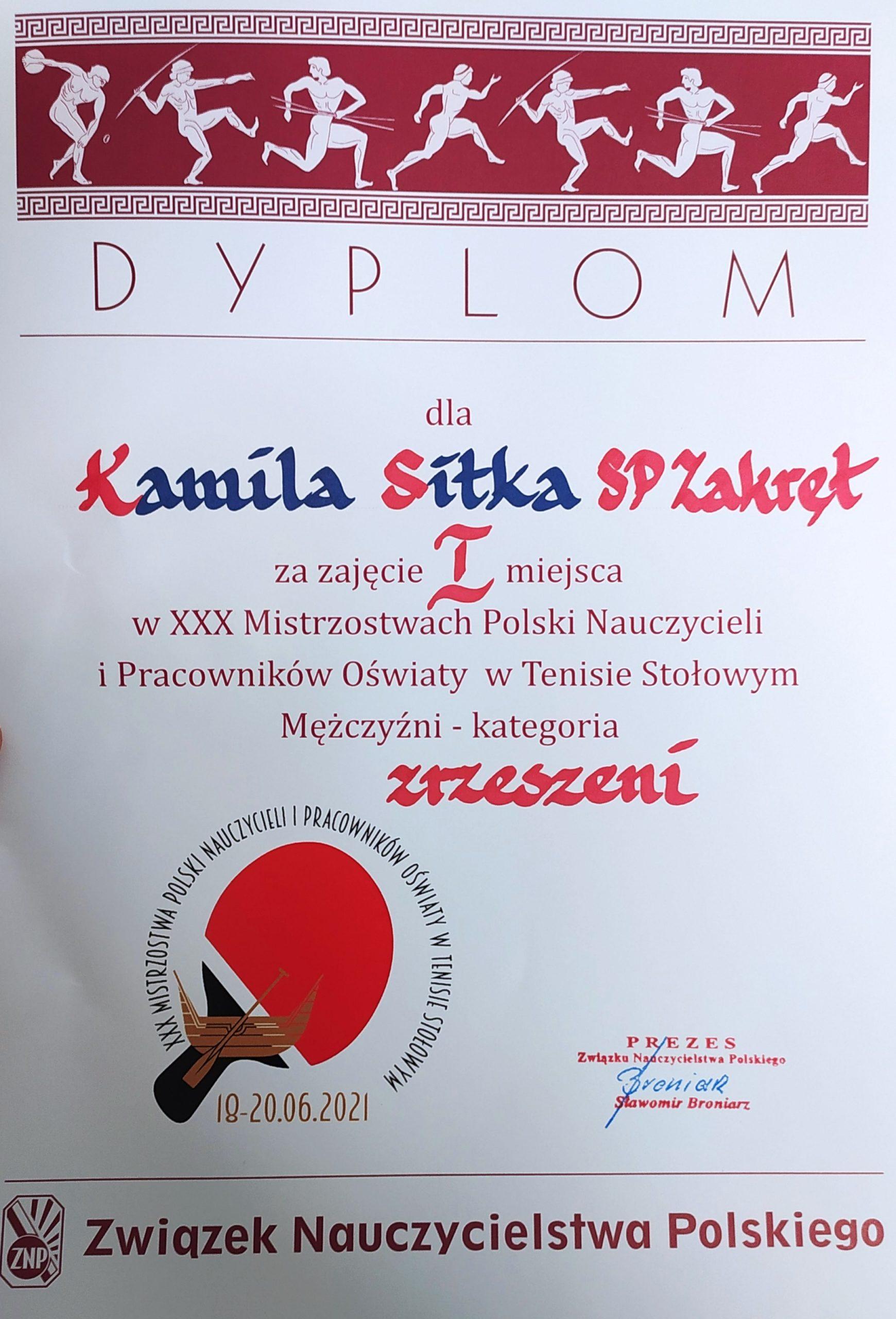 Dyplom dla trenera Kamila Sitka za zdobycie I miejsca w Mistrzostwach Polski w tenisie stołowym