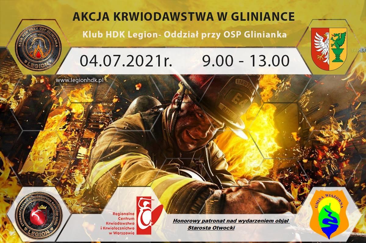 Plakat informujący o akcji krwiodawstwa przy OSP Glinianka 4 lipca 2021 r.