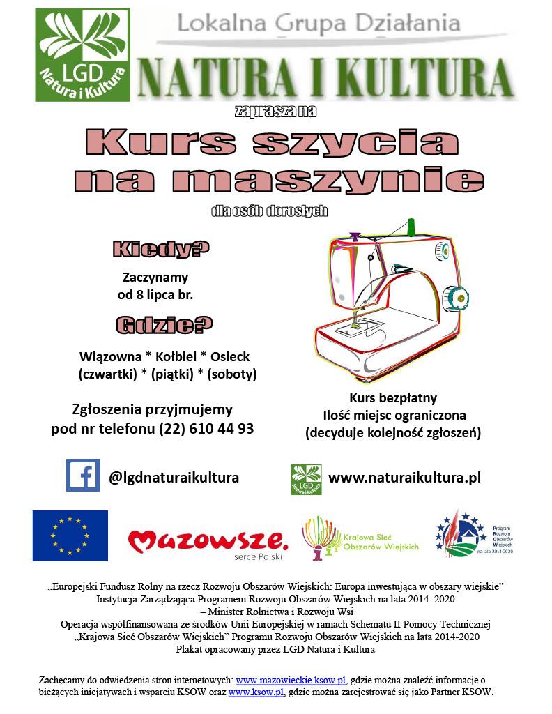 Plakat z informacją o kursie szycia organizowanym przez LGD Natura i Kultura