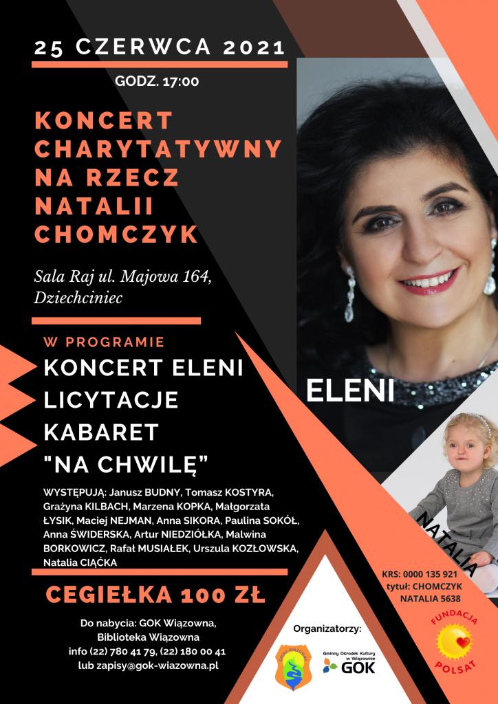 Plakat koncertu charytatywnego na rzecz Natalii Chomczyk