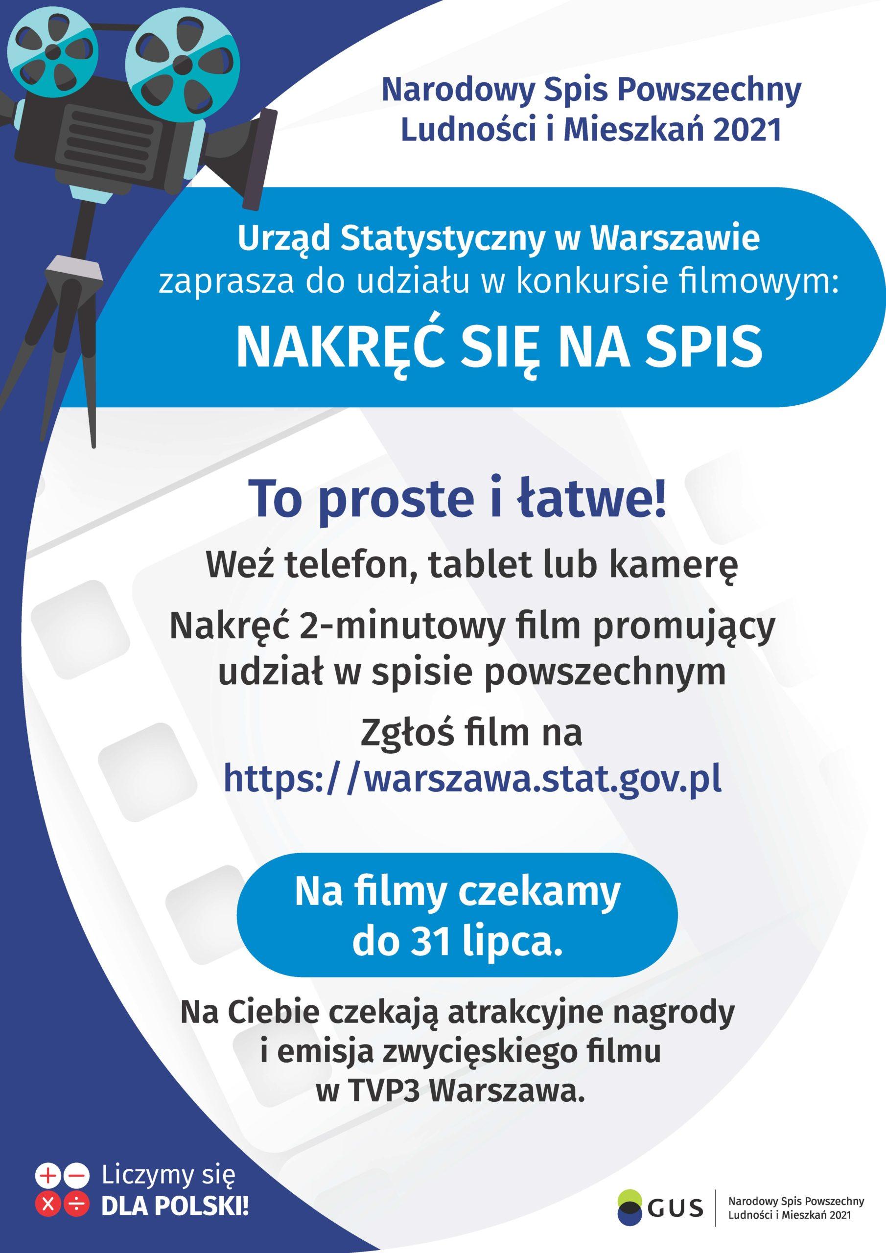 Plakat Głównego Urzędu Statystycznego informujący o konkursie na film o Narodowym Spisie Powszechnym 2021