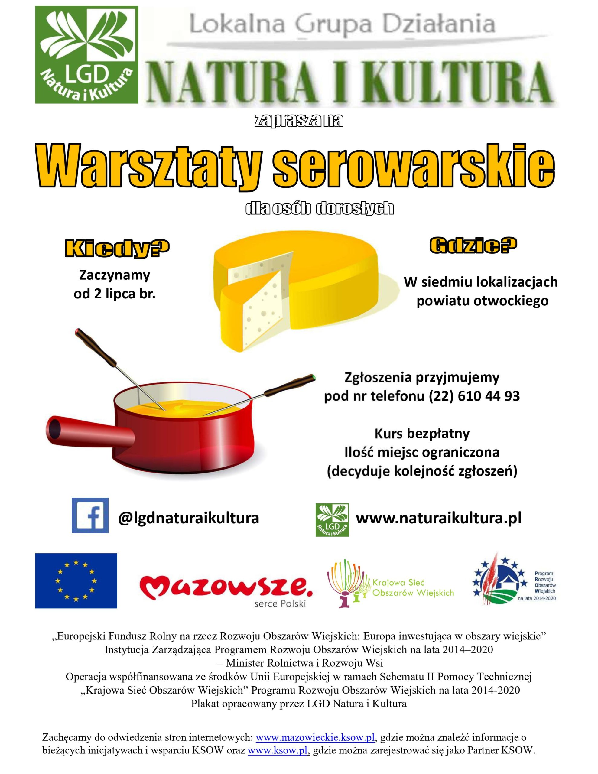 Plakat informujący o zapisach na warsztaty serowarskie organizowane przez LGD Natura i Kultura