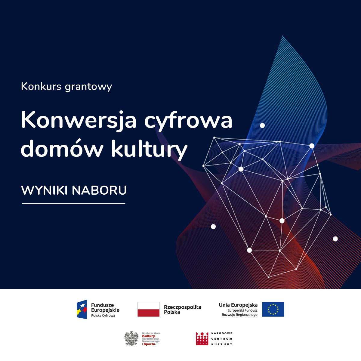 """Plakat programu grantowego """"Konwersja cyfrowa domów kultury"""", w ramach którego dostaliśmy dofinansowanie dla Gminnego Ośrodka Kultury w Wiązownie"""