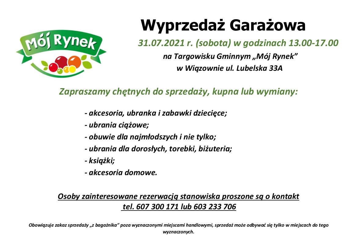 Plakat informujący o garażówce n targowisku w Wiązownie dnia 31 lipca