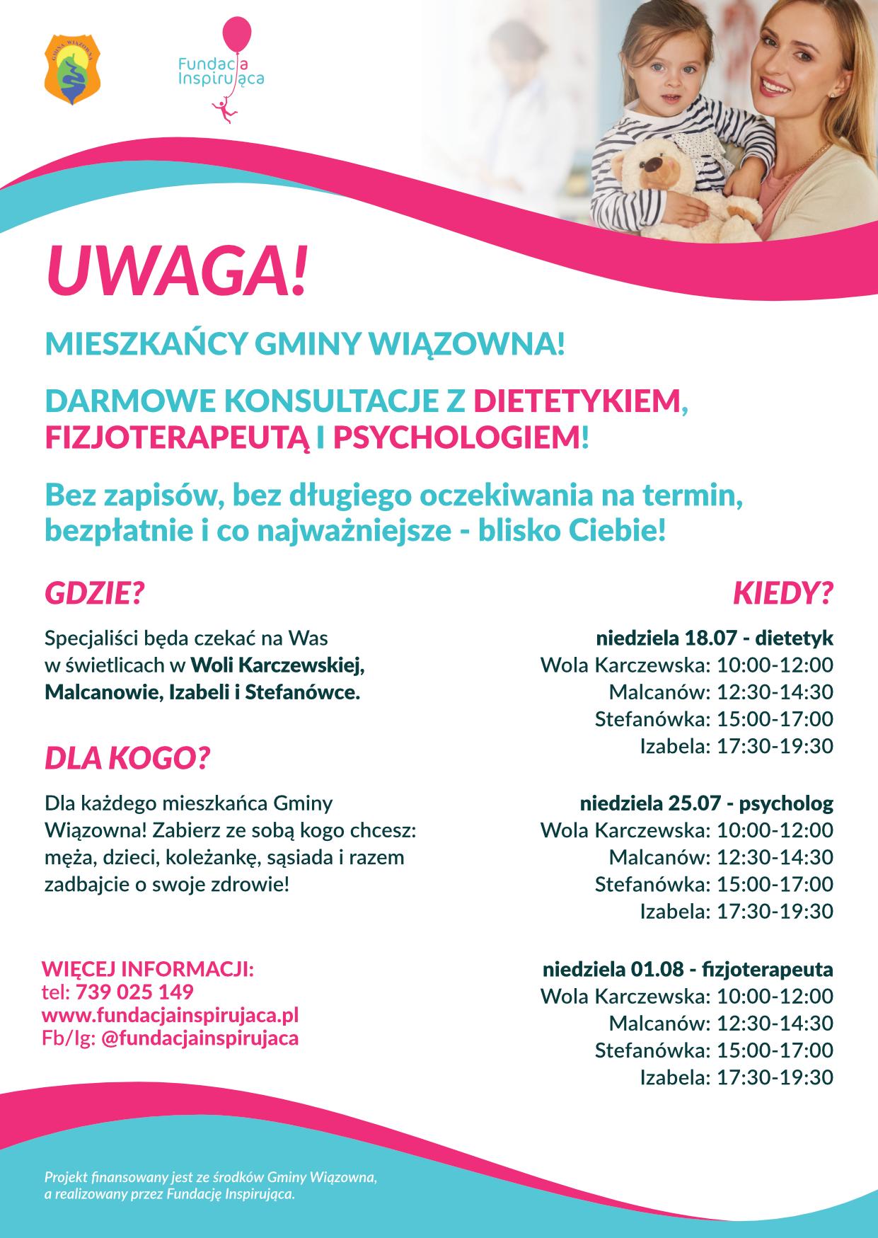 Plakat informujący o darmowych konsultacjach z dietetykiem, fizjoterapeutą i psychologiem
