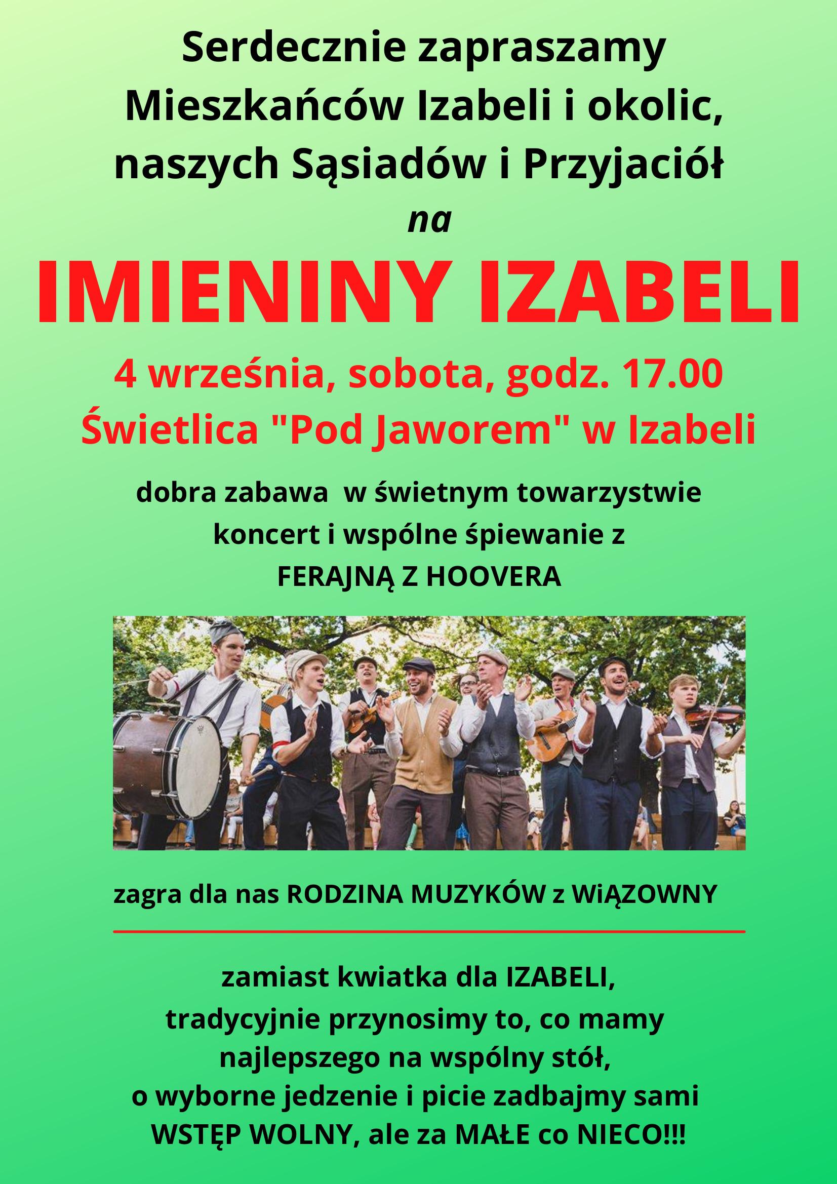 Plakat informujący o Imieninach Izabeli w świetlicy wiejskiej w Izabeli 4 września