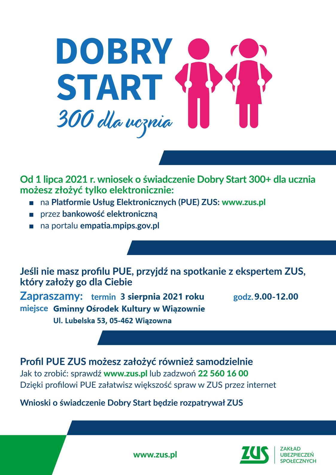 Plakat programu Dobry start informujący o mobilnym punkcie w GOK Wiązowna 3 sierpnia, gdzie będzie można wypełnić wniosek