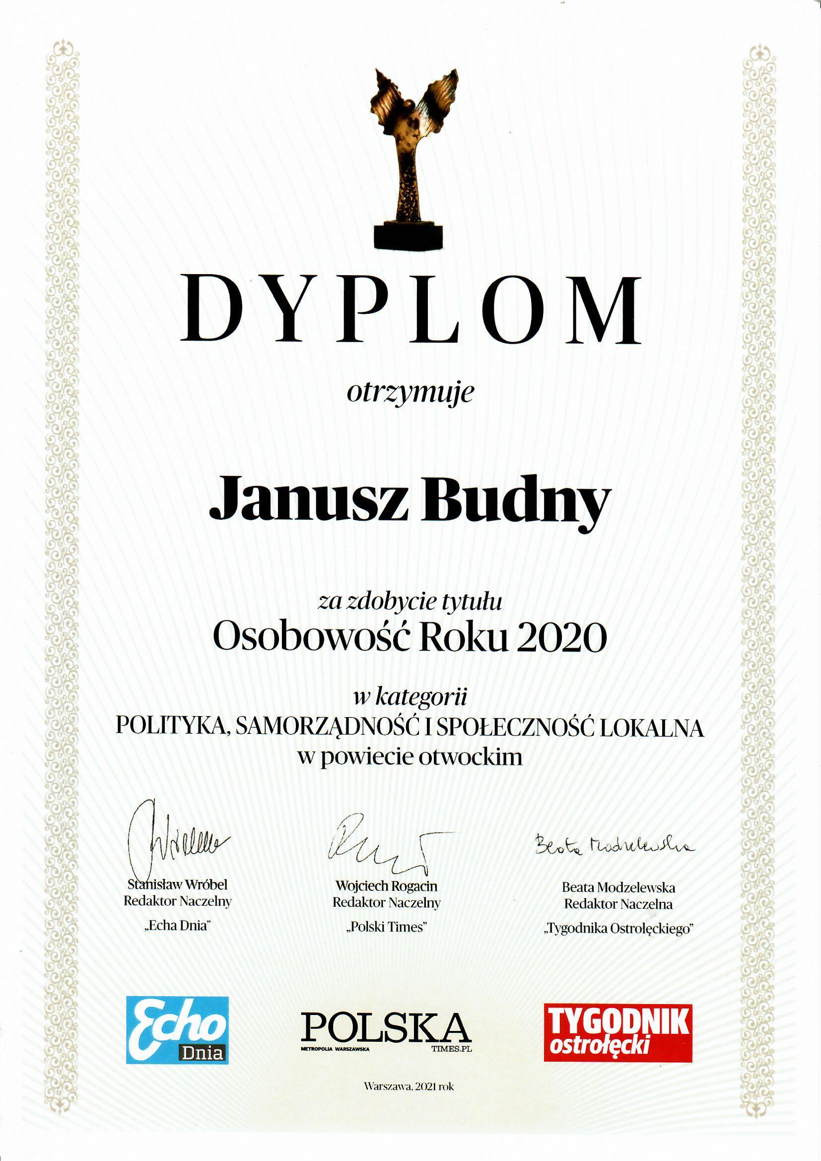 """Dyplom dla Wójta Janusza Budnego w konkursie """"Osobowość Roku 2020"""""""