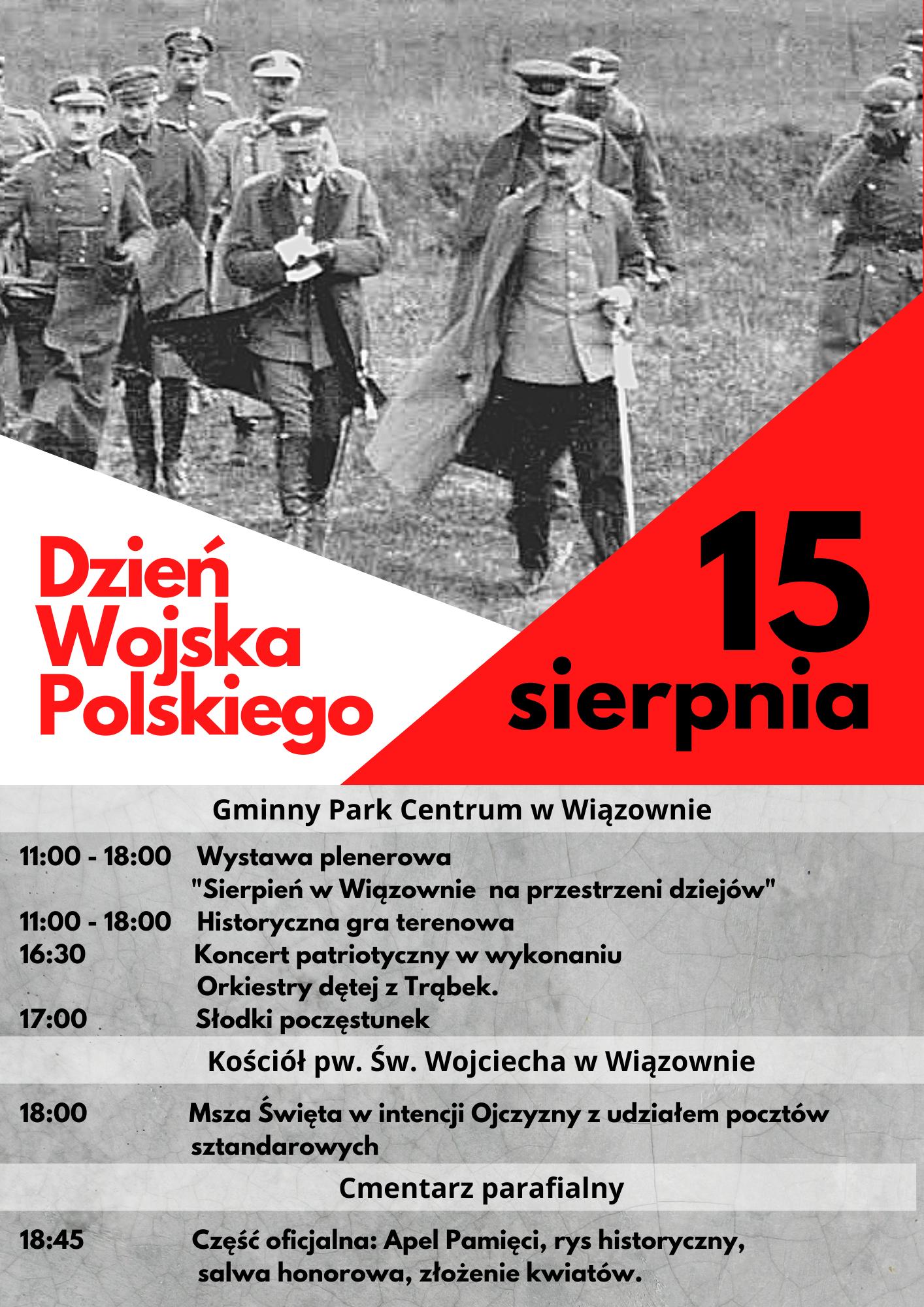 Plakat z informacją o obchodach Dnia Wojska Polskiego w Gminie Wiązowna