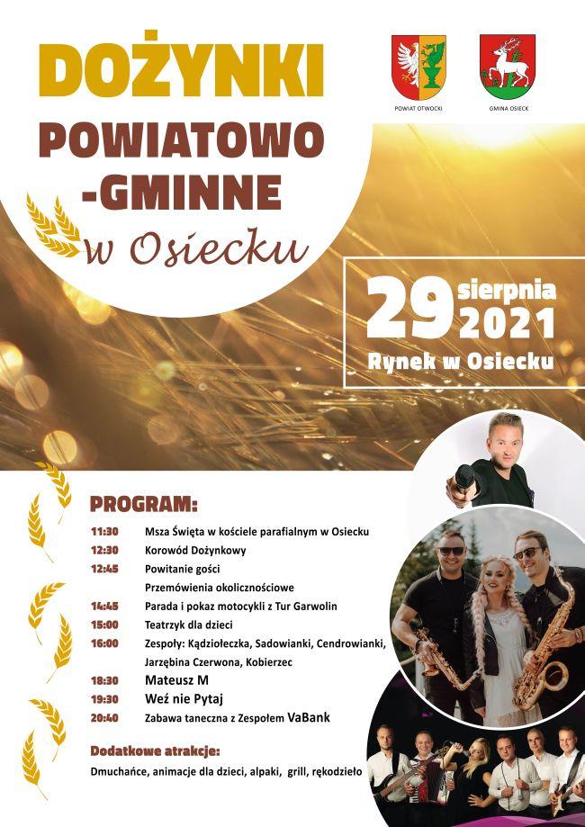 Plakat z informacją o dożynkach powiatowo-gminnych na rynku w Osiecku 29 sierpnia