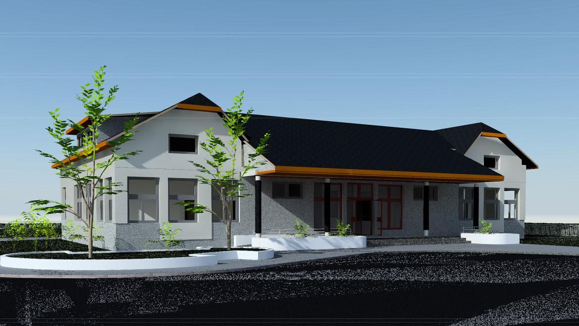 Wizualizacja Duchnowskiego Domu Kultury. Widok z ulicy