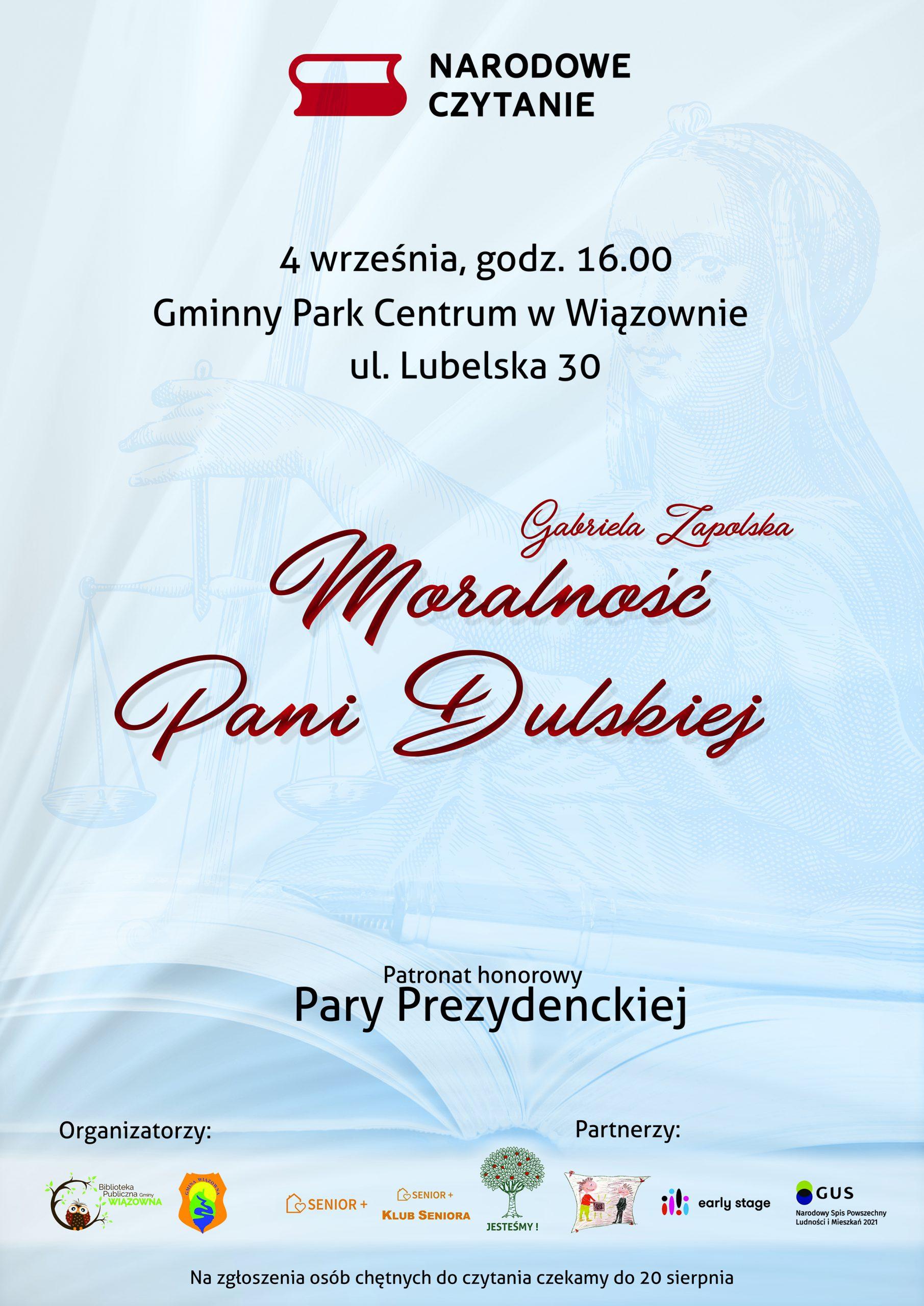 """Plakat informujący o akcji """"Narodowe Czytanie"""" 4 września w Gminnym Parku Centrum w Wiązownie"""
