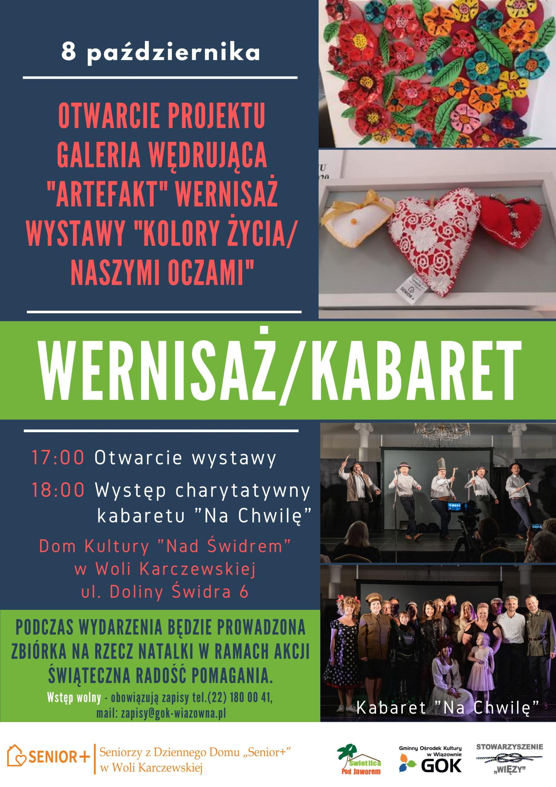 Zaproszenie na wernisaż wystawy 8 października w Domu Kultury Nad Świdrem w Woli Karczewskiej