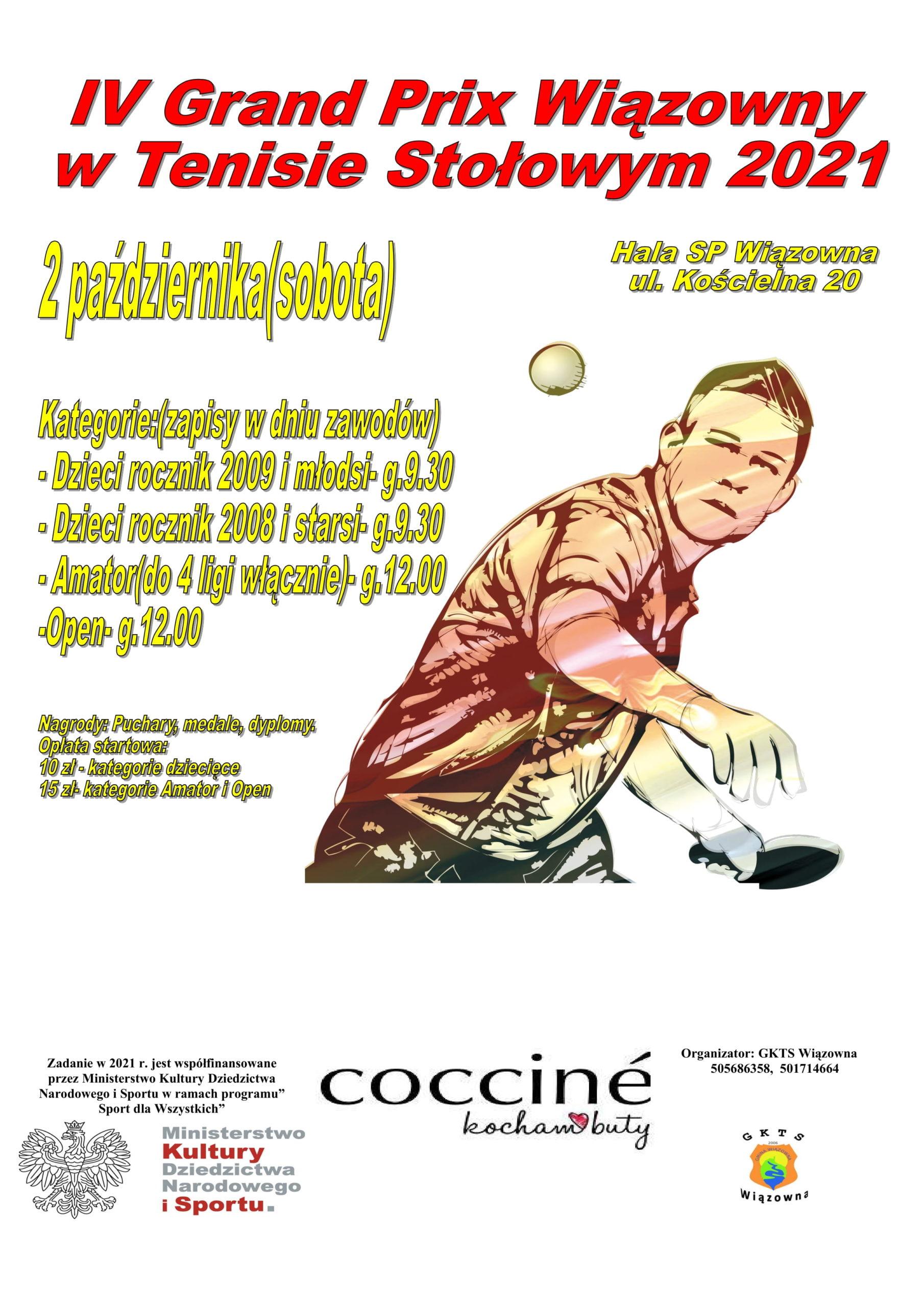 Gminny Klub Tenisa Stołowego zaprasza na IV Turniej Grand Prix Wiązowny w Tenisie Stołowym, który odbędzie się 2 października.