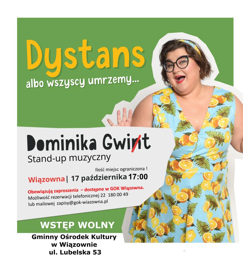 Zaproszenie na recital Dominiki Gwint w Pawilonie Kultury w Wiązownie 17 października o godz. 17.00