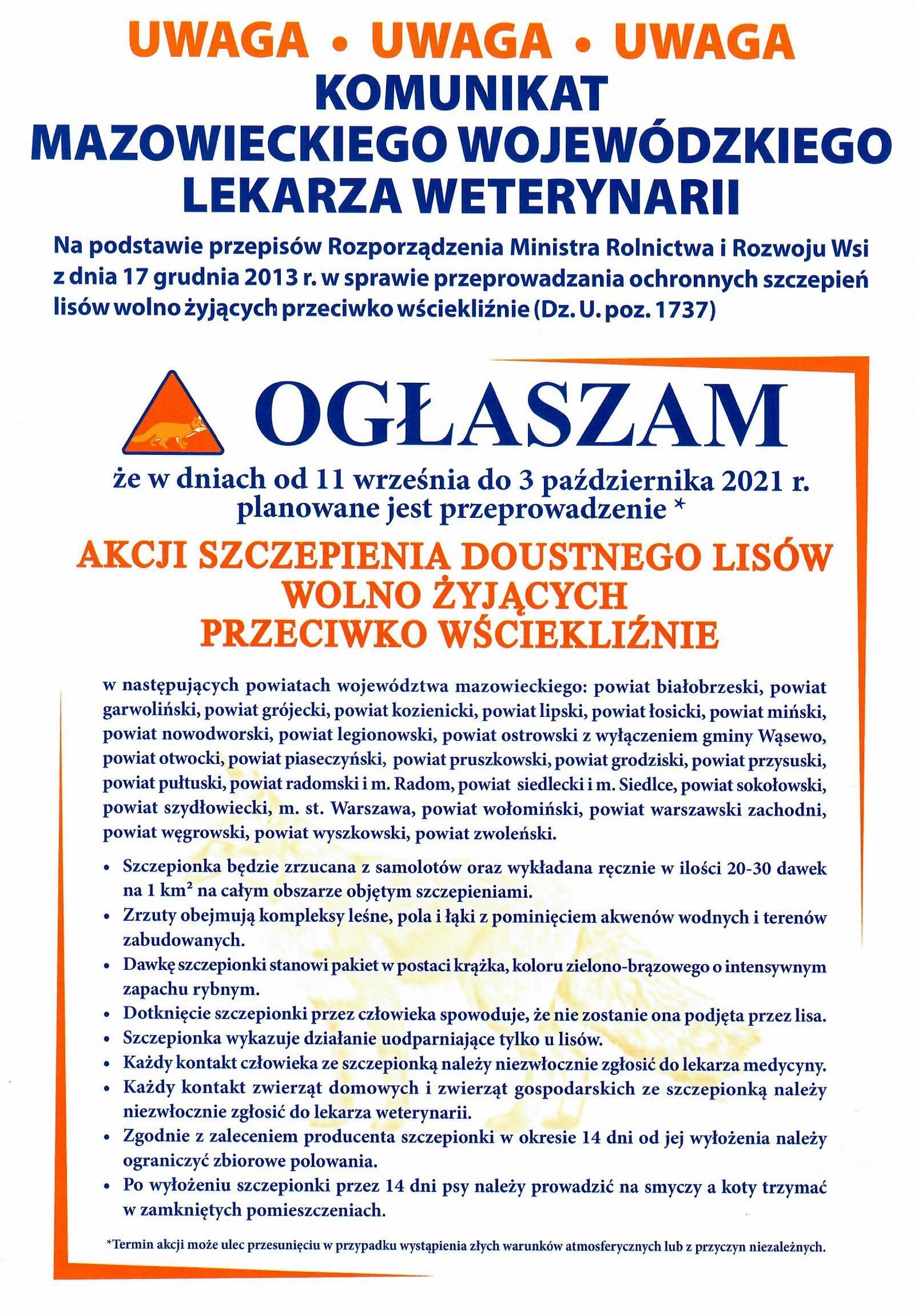 Ulotka informująca o szczepieniach doustnych lisów na terenie Gminy Wiązowna od 11 września do 3 października.