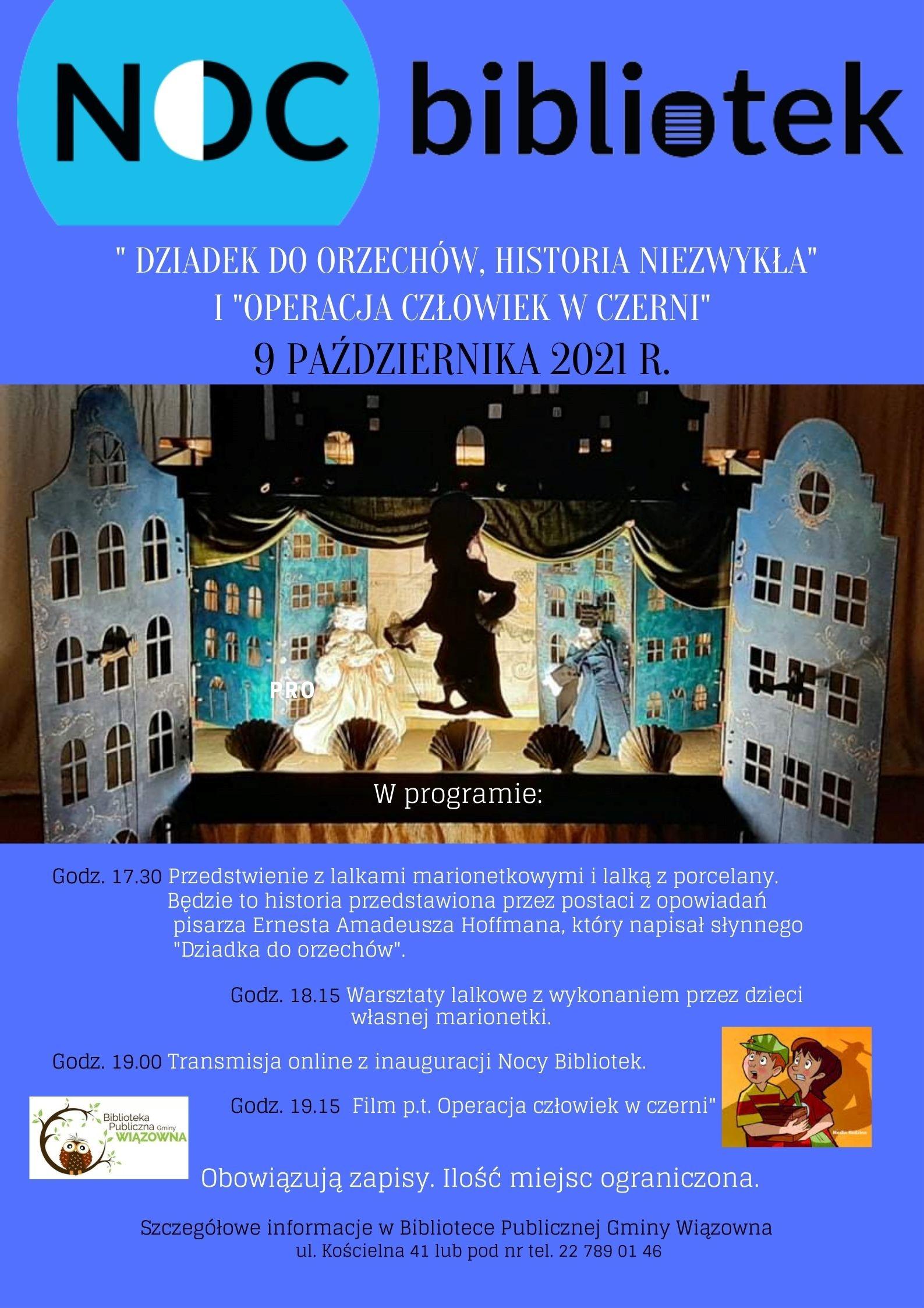 Zaproszenie na Noc Bibliotek w Bibliotece Publicznej Gminy Wiązowna 9 października o godz. 17.00