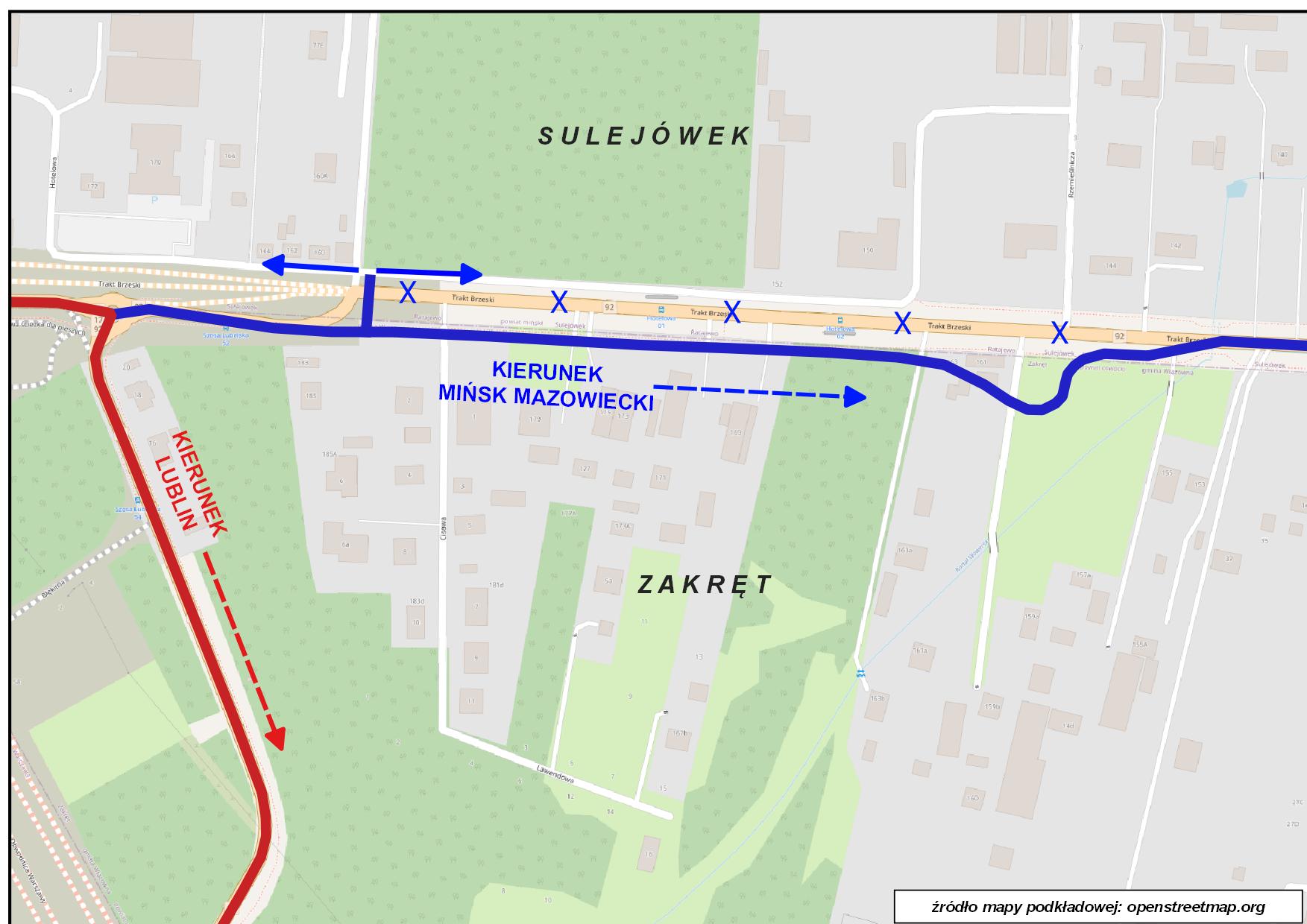 Mapka ze zmianą w organizacji ruchu w Zakręcie od 25 października